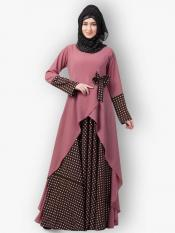 Nida Matte And Crepe Modest Dress With Polka Dotted In Puce Pink And Wine