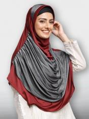 Naira Duro Lines  hijab Instant Hijabs In Maroon And Silver