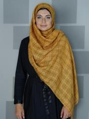 Premium Cotton Stole With Glittering Thread Work And Box Pattern In Mustard