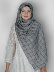 Premium Cotton Stole With Glittering Thread Work And Box Pattern In Grey