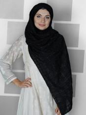 Premium Cotton Stole With Glittering Thread Work And Box Pattern In Black