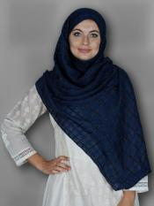 Premium Cotton Stole With Glittering Thread Work And Box Pattern In Navy Blue