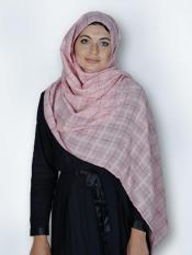 Premium Cotton Stole With Glittering Thread Work And Box Pattern In Light Pink