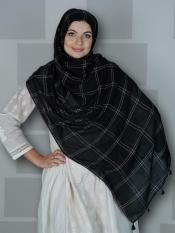 Premium Cotton Stole With Box Pattern And Tessel Work In Black