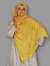 Premium Cotton Stole With Box Pattern And Tessel Work In Mustard