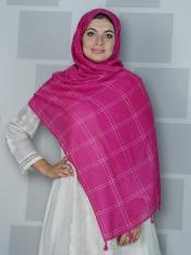 Premium Cotton Stole With Box Pattern And Tessel Work In Hot Pink