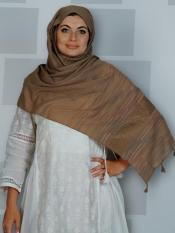 Premium Cotton Stole With Line Pattern And  Image