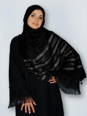 Premium Cotton Stole With Tessel Work In Black