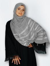 Premium Cotton Stole With Tessel Work In Grey