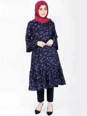 100% Rayon Midi Dress With Floral Frill Gathers In Navy