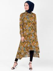 100% Rayon High Low Midi Dress With Floral Work In Mustard