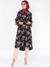 100 Polyster Midi Dress With Gathered A Line Image