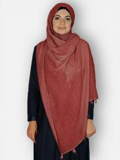 Premium Cotton Stoles With Tessel Work In Rust