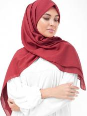 Lollipop 100 % Cotton Voile Scarf In Red