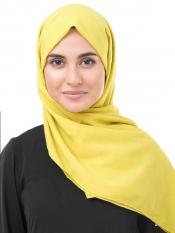100 % Cotton Voile Scarf In Cellery Yellow