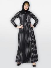 American Crepe Striped Abaya With Baby Collar In Black And White