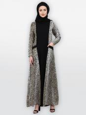 American Crepe Nida Matte Casual Abaya With Animal Print In Black And White
