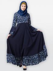 Nida Matte Frilled Abaya With Printed Work In Navy blue