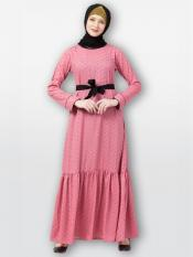 American Crepe Abaya With Polka Dotted Frilled In Puce Pink