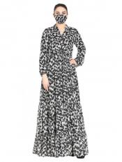Chiffon Modest Dress And Shantoon Lining With Extra Printed Flare In Black And White