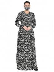 Chiffon Modest Half Front Open Dress And Shantoon Lining With Extra Printed Flare In Black And White