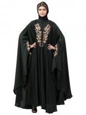 Premium Shine Nida Kaftan With Neck And Sleeve Embroidered In Dark Green