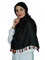 Premium Cotton Stole With Multi Color Tassel Work In Black