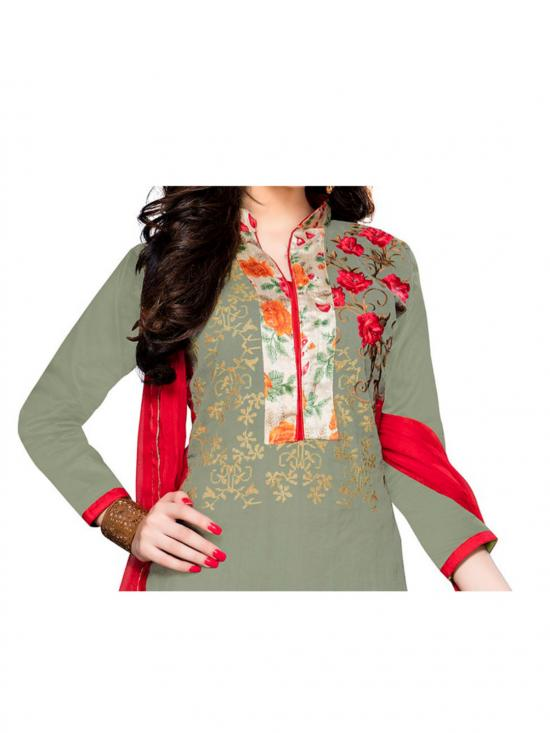 Mehendi Green Cotton Embroidered Straight Suit