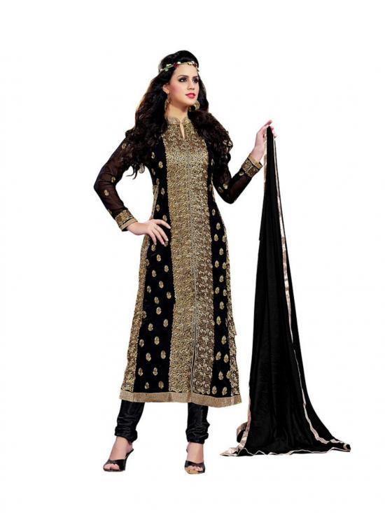 Black  Color  Bhagalpuri Salwar Suit Material
