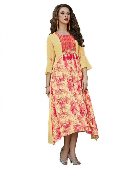 Mustard and Red Color Designer Kurti