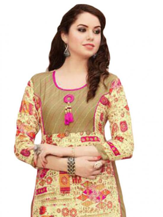 Khaki and Ivory Color Gown Style Rayon Kurti