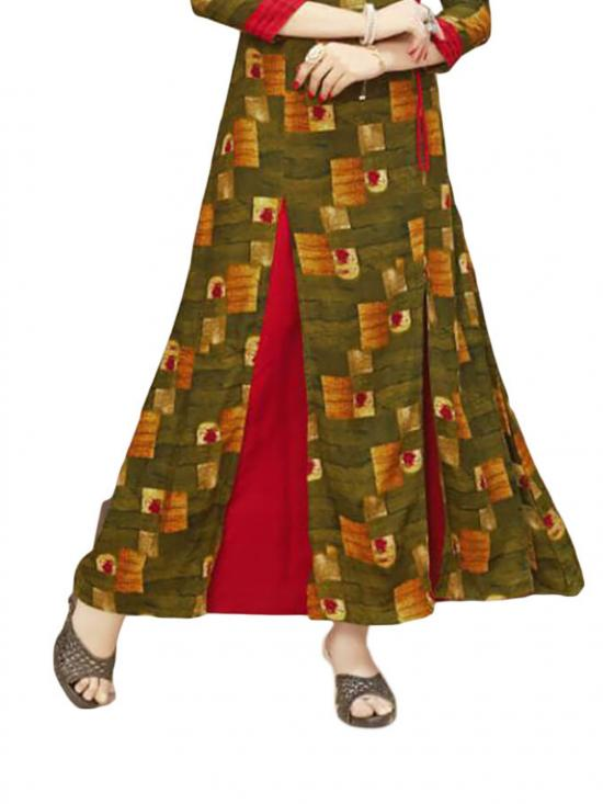 Red and Olive Green Color Gown Rayon Style Kurti