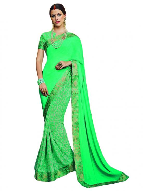 Screamin Green Color Traditional Saree