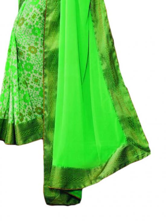 Neon Green Color Traditional Saree