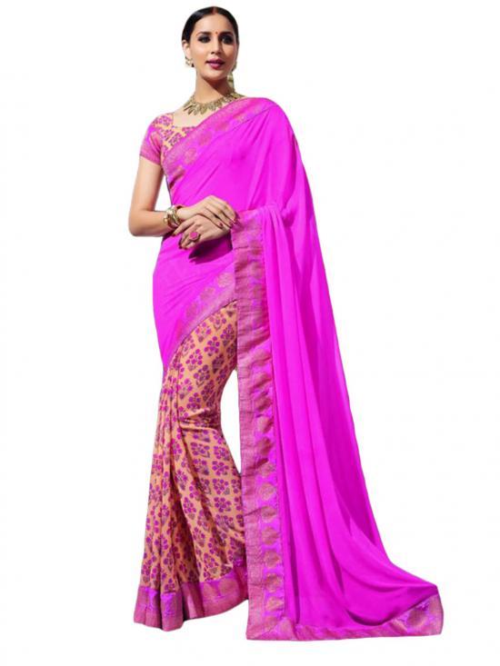 Dark Pink Color Traditional Casual Wear Saree
