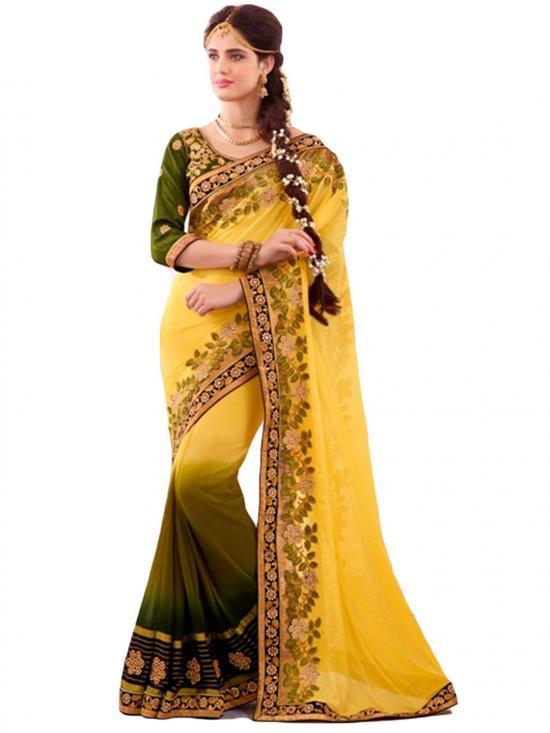 Yellow & Olive Green Color Designer Ethnic  Saree