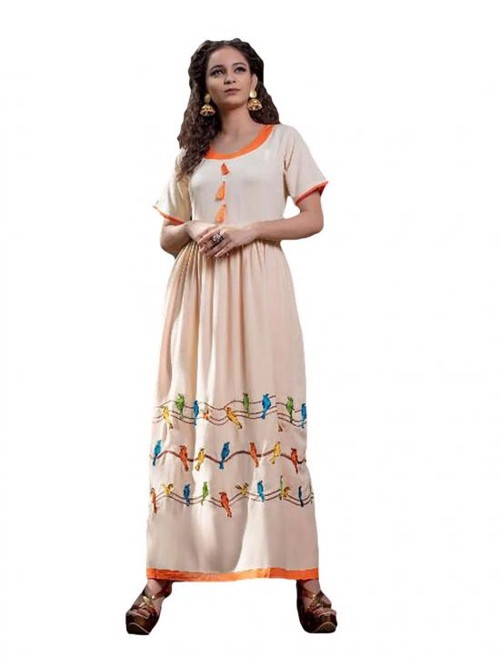 Skin Color Gown type Rayon Kurti