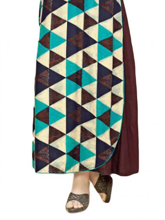 Coffee and Multicolor Gown Style Rayon Kurti