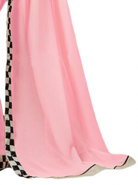 Pink and Black Color Georgette Saree