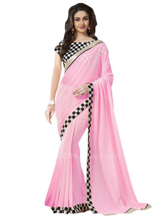 Light Pink and Black Color Georgette Saree
