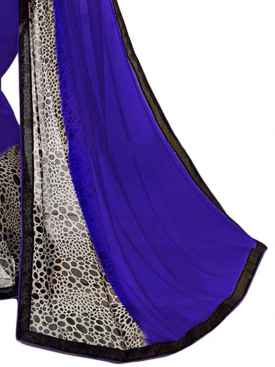 Royal Blue & Black Color Georgette Saree
