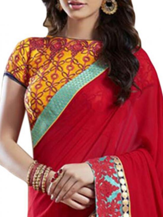 Red Color Georgette Designer Saree