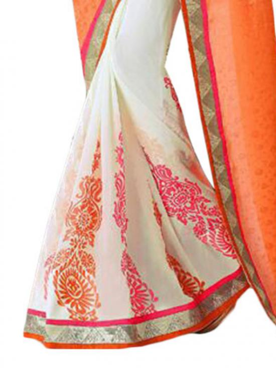 Orange & Pink Color Georgette Saree
