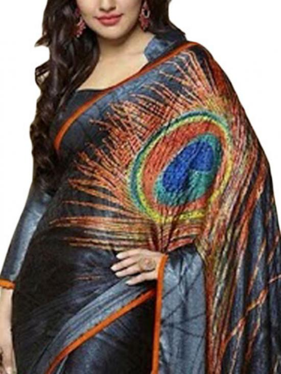 Grey and Orange Color Designer Saree
