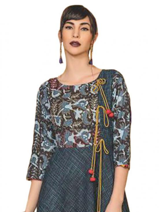 PeacockGreen and Black Ethnic Style Kurti