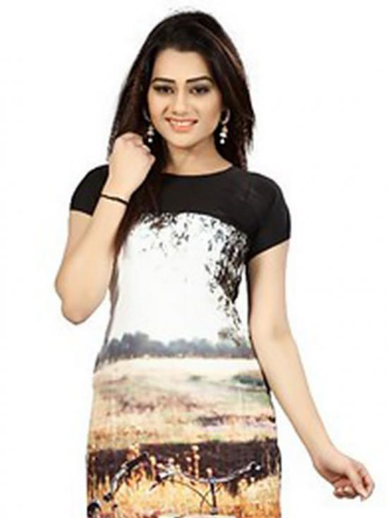 Black &  Brown Color Crepe Kurti