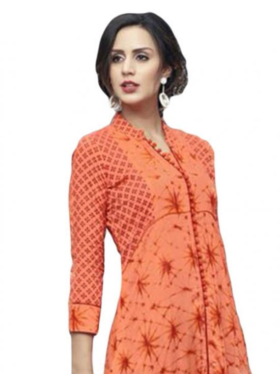 Orange Color Designer Rayon Kurti