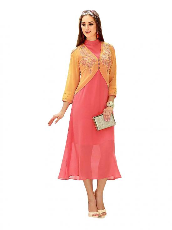 Orange and Pink Color Faux Georgette Designer Kurti