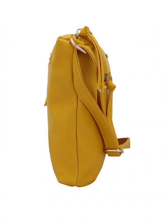 Timid Women Synthetic Sling Bag -Yellow