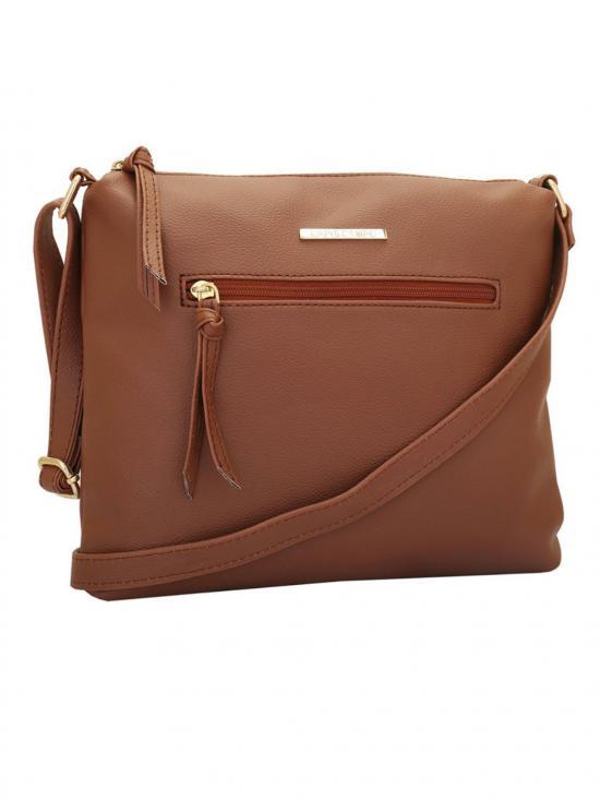 Windsor Women Synthetic Sling Bag - Tan